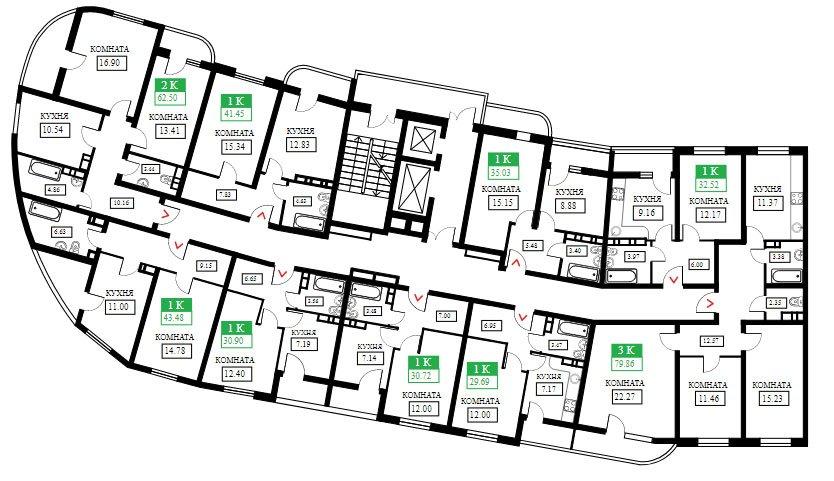 Планировки ЖК Фонтаны литер 12, подъезд 1 (этаж 1-11)