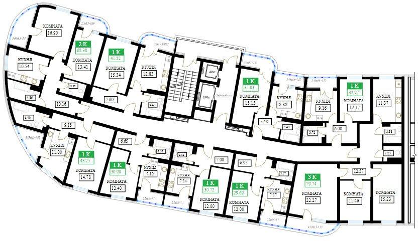 Планировки ЖК Фонтаны литер 10 (этаж 2-15)