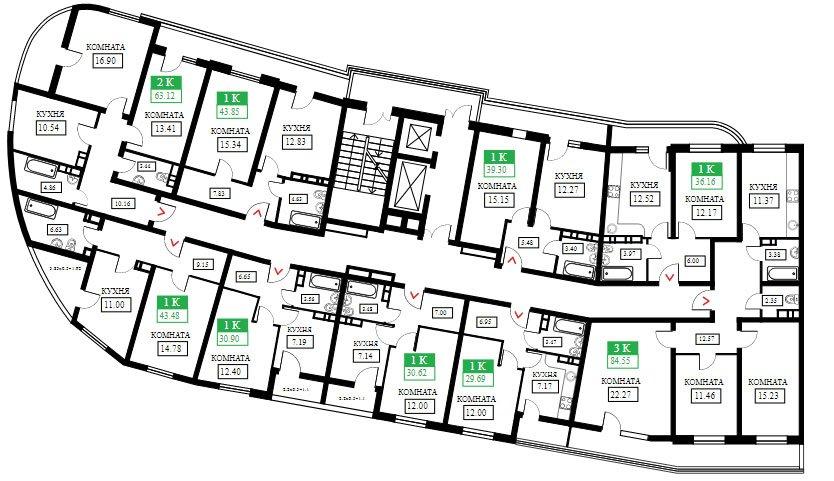 Планировки ЖК Фонтаны литер 12, подъезд 1 (этаж 12-16)