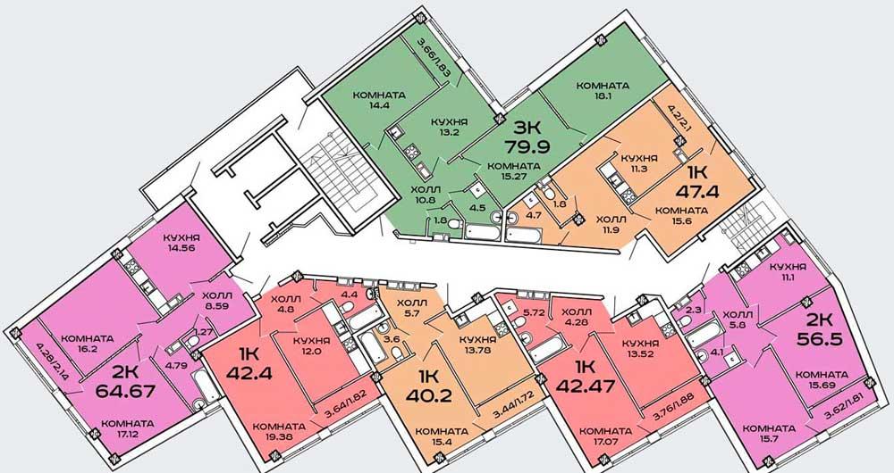 План типового этажа ЖК Пируэт от ССК