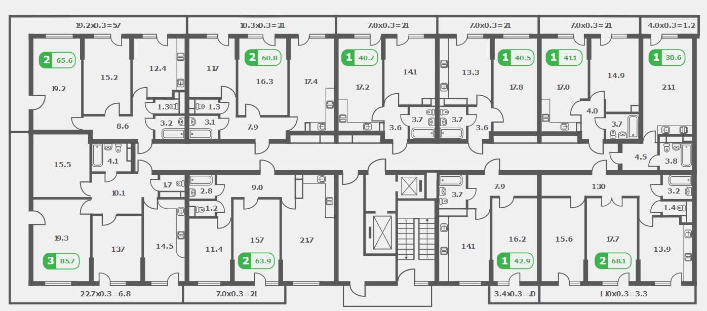 Планировка ЖК Трилогия литер 2 этаж 16-18