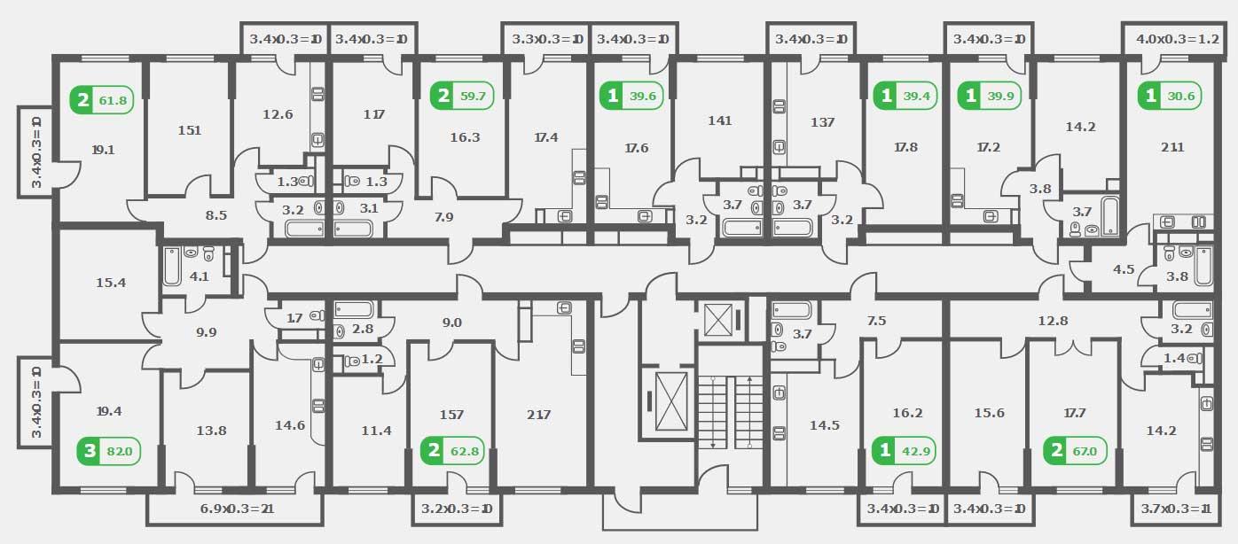 Планировка ЖК Трилогия литер 2 этаж 3-8