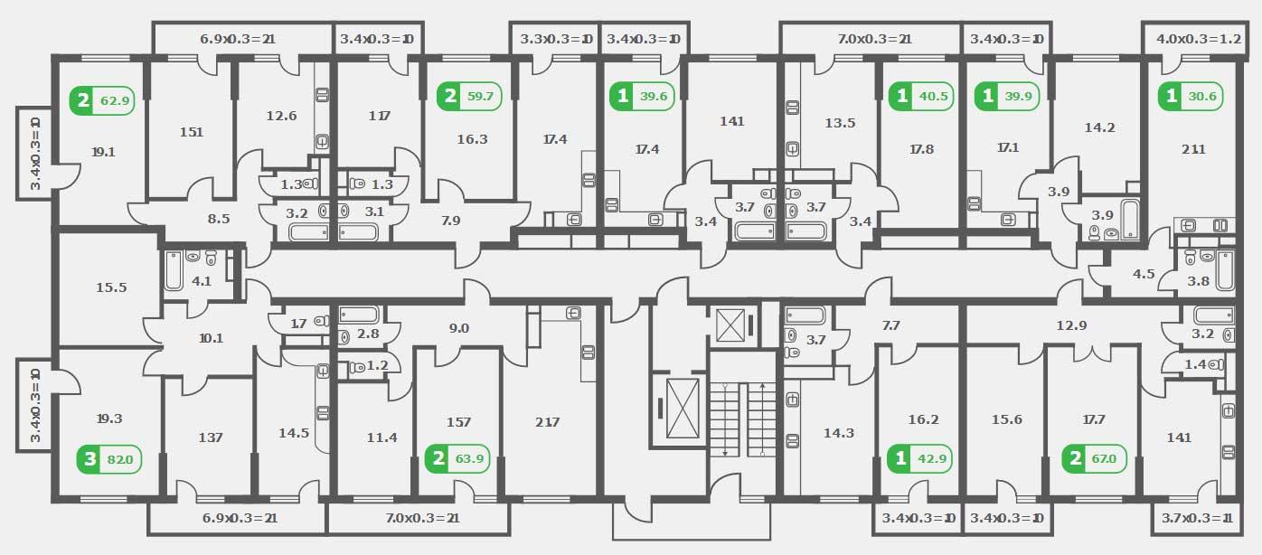 Планировка ЖК Трилогия литер 2 этаж 9-15