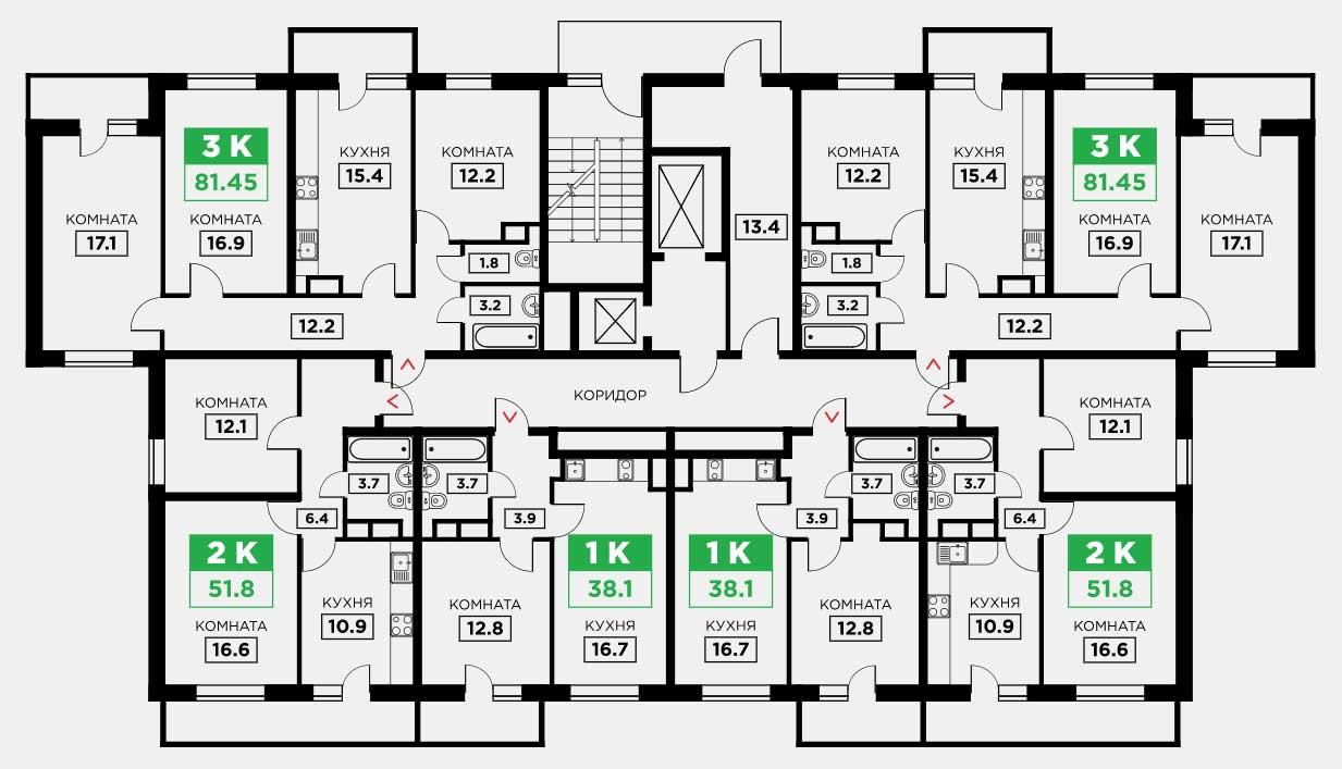 Планировка ЖК Трилогия литер 3 этаж 16-18