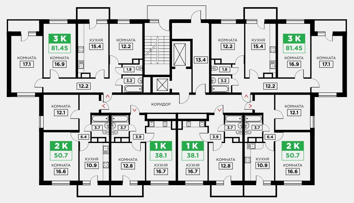 Планировка ЖК Трилогия литер 3 этаж 3-8