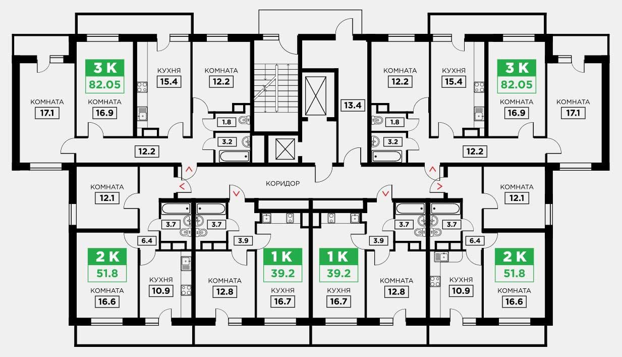 Планировка ЖК Трилогия литер 3 этаж 9-15