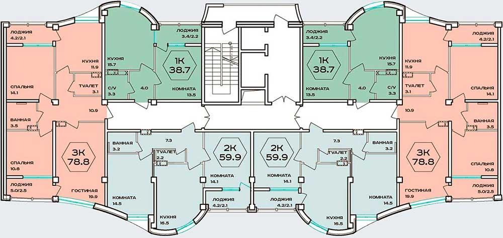 План типового этажа ЖК Барселона