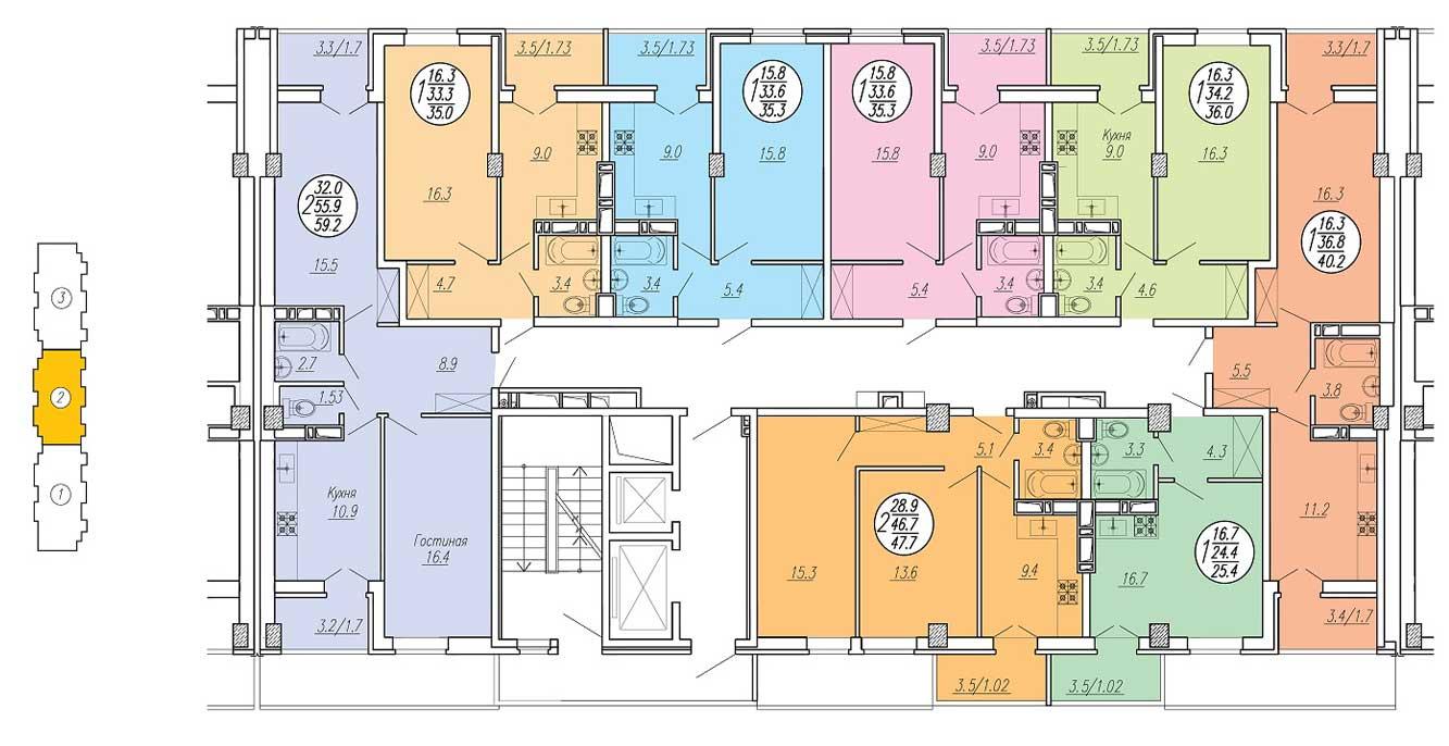 Планировка типового этажа ЖК Притяжение 2 подъезд