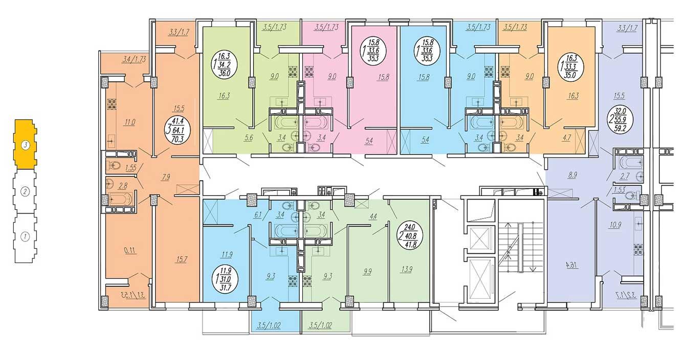 Планировка типового этажа ЖК Притяжение 1 подъезд