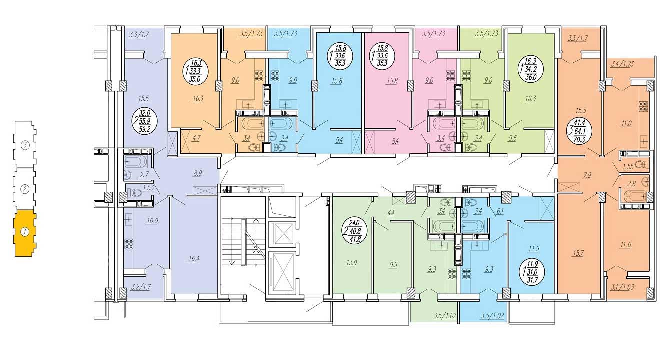 Планировка типового этажа ЖК Притяжение 3 подъезд